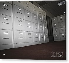 Rows Of Filing Cabinets Acrylic Print by Jetta Productions, Inc