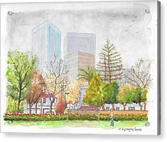 Roxbury Park In Beverly Hills With Century City In The Background, Ca Acrylic Print by Carlos G Groppa