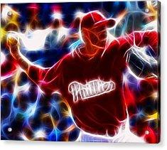 Roy Halladay Magic Baseball Acrylic Print by Paul Van Scott