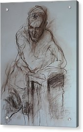 Roy Leaning On Stool. Acrylic Print by Harry Robertson