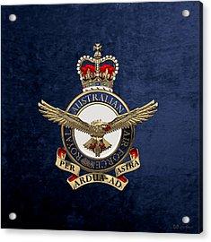 Royal Australian Air Force -  R A A F  Badge Over Blue Velvet Acrylic Print