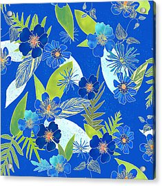 Royal Blue Aloha Tile 3 Acrylic Print