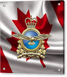 Royal Canadian Air Force Badge Over Waving Flag Acrylic Print