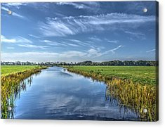 Royal Canal And Grasslands Acrylic Print