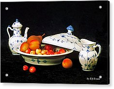Royal Copenhagen And Fruits Acrylic Print by Elf Evans
