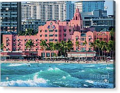 Royal Hawaiian Hotel Surfs Up Acrylic Print