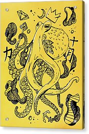 Royal Octopus Canary Yellow Acrylic Print by Kenal Louis