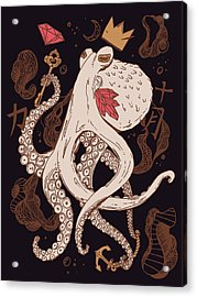 Royal Octopus Chi Gold Acrylic Print