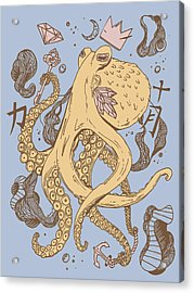 Royal Octopus Peach Tan Acrylic Print