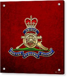 Royal Regiment Of Canadian Artillery - Rca Badge On Red Leather Acrylic Print
