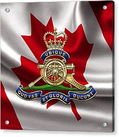 Royal Regiment Of Canadian Artillery  - Rca Badge Over Waving Flag Acrylic Print