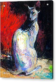 Royal Sphynx Cat Painting Acrylic Print