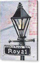 Royal Street Lampost Acrylic Print by Elaine Hodges