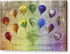 Acrylic Print featuring the digital art Roygbiv Balloons by Melinda Ledsome