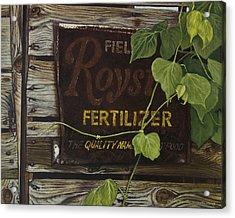 Royston Fertilizer Sign Acrylic Print by Peter Muzyka