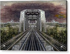 Rr Bridge Textured Composite Acrylic Print by Thomas Woolworth