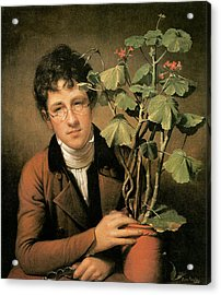 Rubens Peale With A Geranium Acrylic Print by Rembrandt Peale