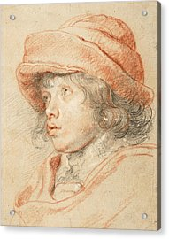 Rubens's Son Nicolaas Wearing A Red Felt Cap Acrylic Print by Peter Paul Rubens