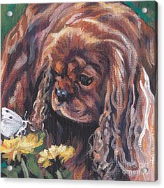 Acrylic Print featuring the painting Ruby Cavalier King Charles Spaniel by Lee Ann Shepard