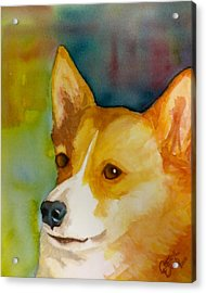 Ruby The Corgi Acrylic Print by Cheryl Dodd
