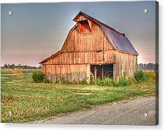 Ruddish Barn At Dawn Acrylic Print by Douglas Barnett