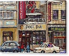Rue Peel Montreal Winter Street Scene Paintings Peel Pub Cafe Republique Hockey Scenes Canadian Art Acrylic Print