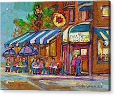 Rue Prince Arthur Casa Grecque Montreal Acrylic Print by Carole Spandau