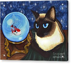 Acrylic Print featuring the painting Rue Rue's Fortune - Siamese Cat Koi by Carrie Hawks