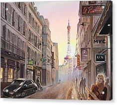 Rue Saint Dominique Paris France View On Eiffel Tower Sunset Acrylic Print by Irina Sztukowski