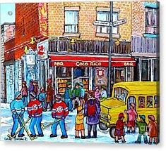 Rue St Laurent Corner Napoleon Coco Rico Bbq Montreal Winter Scene After School Hockey C Spandau Acrylic Print by Carole Spandau