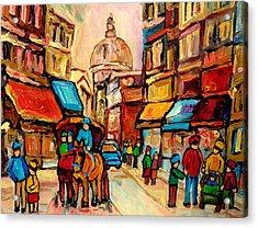 Rue St. Paul Old Montreal Streetscene Acrylic Print by Carole Spandau