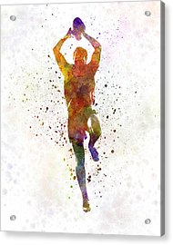 Rugby Man Player 04 In Watercolor Acrylic Print by Pablo Romero