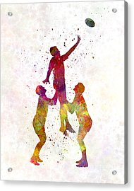Rugby Men Players 01 In Watercolor Acrylic Print by Pablo Romero