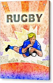 Rugby Player Diving To Score A Try Acrylic Print by Aloysius Patrimonio