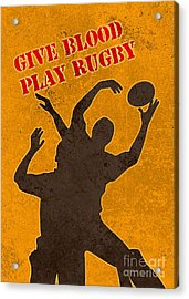 Rugby Player Jumping Catching Ball In Lineout Acrylic Print by Aloysius Patrimonio