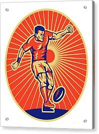 Rugby Player Kicking Ball Woodcut Acrylic Print by Aloysius Patrimonio