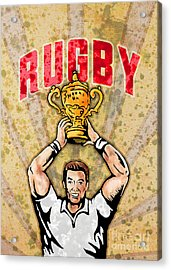Rugby Player Raising Championship World Cup Trophy Acrylic Print by Aloysius Patrimonio