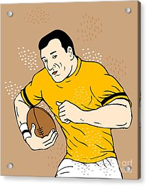 Rugby Player Runningwith The Ball Acrylic Print by Aloysius Patrimonio