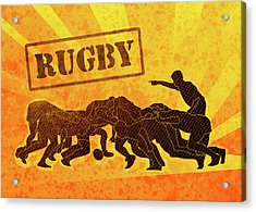 Rugby Players Engaged In Scrum  Acrylic Print by Aloysius Patrimonio