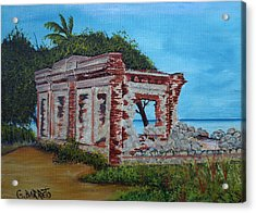 Ruinas Del Faro En Aguadilla Acrylic Print by Gloria E Barreto-Rodriguez