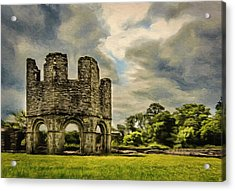 Acrylic Print featuring the painting Ruins Of Mellifont Abbey by Jeff Kolker