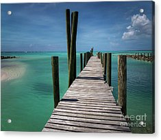 Rum Cay Marina Jetty In Bahamas Acrylic Print by Jola Martysz