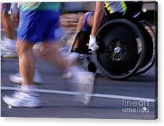 Runners And Disabled People In Wheelchairs Racing Together Acrylic Print by Sami Sarkis