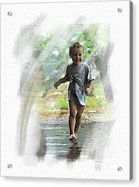 Runnin' In The Rain Acrylic Print by Cliff Hawley