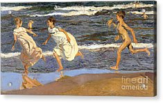 Acrylic Print featuring the painting Running Along The Beach by Joaquen Sorolla y Bastida