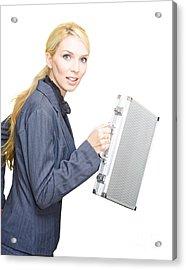 Running Business Woman Acrylic Print