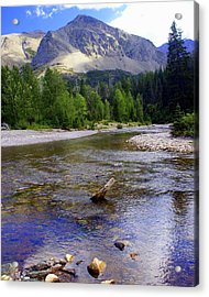 Running Eagle Creek Glacier National Park Acrylic Print by Marty Koch