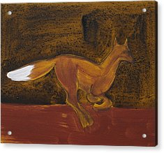 Running Fox In Iron Oxide And Lime Acrylic Print by Sophy White