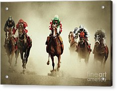 Running Horses In Dust Acrylic Print