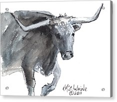 Running Texas Longhorn Watercolor Painting By Kmcelwaine Acrylic Print